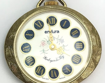 Swiss Made Endura Watch Pendant Necklace Roman Numerals Painted Dial