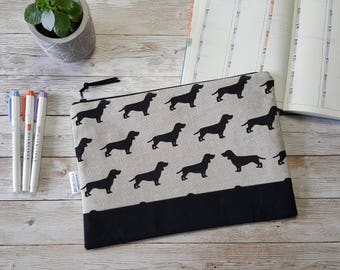 Bullet journal case | planner pouch | large zippered bag | travel journal case | a5 notebook bag | accessory bag | dog lover | dachshund