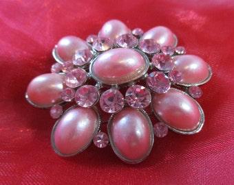 Vintage Pink Faux Pearls and Rhinestones Pin, Brooch