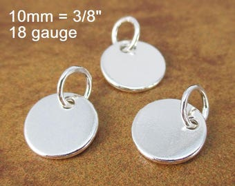 18 Gauge, Sterling Silver Disc Metal Stamping Blank Tag, 18 ga g, 10mm, Sterling Silver 925