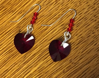 Swarovski Crystals and Silver Earrings ! Handcrafted , great gift!