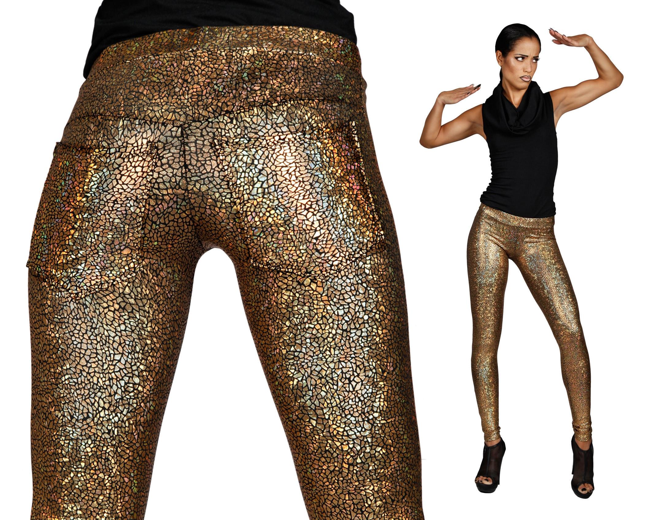 Goldene Leggings w. Jeans zurück holographische Leggings