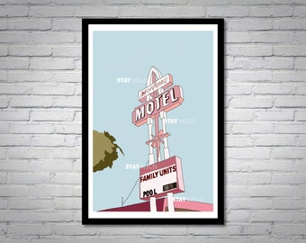 Motel Illustration Wall Art Print