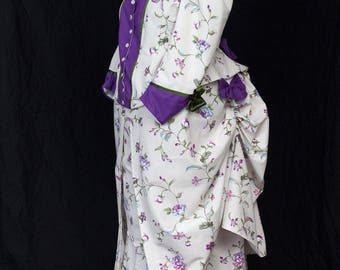 Historical Victorian Bustle Day dress Custom Sized