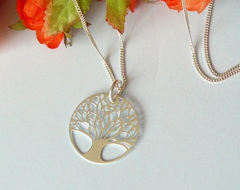 Tree Of Life Necklace, Tree Necklace, Gift for Mom, Sister, Tree of Life Jewelry Pendant, Sterling Silver, Lace pattern, dainty necklace