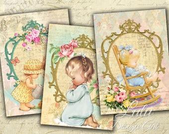 Lovely Cards - Digital Collage Sheet - Digital Cards - Gift Tags - Digital Paper - Scrapbook - Printables - Baby - Children - Digital Tags