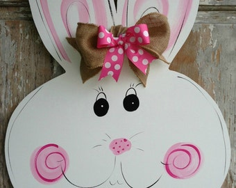 Large Wooden Easter Bunny Door Hanger Decor Art Hand Painted