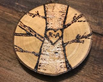 3 inch Rustic Wood Burned Initial Christmas Ornament