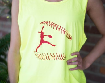 Neon Softball Tank Softball Girl Pitcher Personalized Can be Monogrammed!!