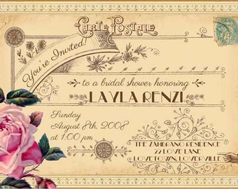 Evangeline - Vintage Victorian French Rose and Typography - Printable DIY Wedding Bridal Shower Postcard Invitations - Customized
