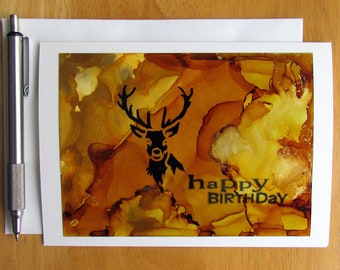 Happy Birthday Card, Birthday Card, Deer Card, Hand Painted Cards, Alcohol Ink Art, Cards for Hunters, Nature Cards, Handmade Cards, Bucks