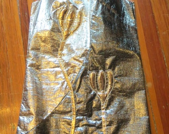 SALE  Insane 60s 100% Metallic Dress with Metallic 3D Flowers
