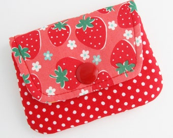 Strawberry Card Case   Mini Wallet to use for gift cards, business card, or debit or credit cards.,