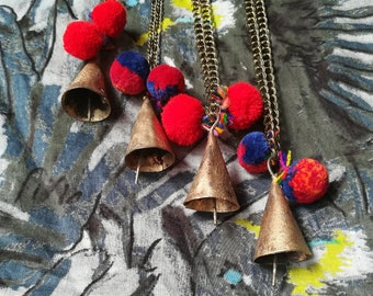 Boho Bell Necklace. Tibetan Ethnic Gypsy Indian Bohemian Hippie style. Golden bell red pompom. Long chain necklace.