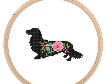 Long Haired Dachshund Dog Silhouette Cross Stitch Pattern floral roses Pet animal wall art Dog cross stitch modern trendy great gift