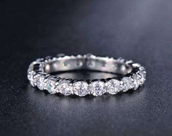 Luxury White Gold Plated Wedding Band Engagement CZ Ring