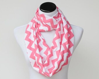Pink scarf, pink white chevron infinity scarf zig zag scarf light pink white stripes - soft jersey knit scarf for women and girls