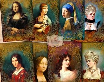 Renaissance - Digital download art, Digital Collage Sheet, Scrapbook,Journaling, Instant Download, Digital Greeting Card Set,