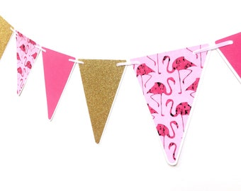 Flamingo Party Bunting Pink and Gold Triangle pennant banner. Baby shower, birthday party, photo prop. Party decorations. Bright Pink & Gold