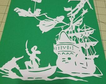 Peter pan, peterpan, papercut, decoration, decor, wall art, paper art, wendy, tinkerbell, captain hook, alligator, home decor, pirate, ship