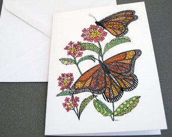 Monarch Butterfly Stationery Set - Set of 8 Blank Inside Note Card Set - Butterflies on Lantana Flowers notecards
