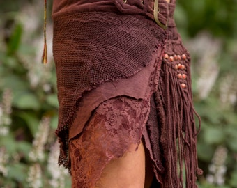 Jungle Skirt with Pockets (Brown) - Festival Clothing Gypsy Festival Goa Bohemian Fairy Hippie Boho Wrap with Belt and Pockets