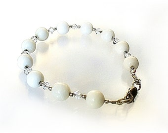Mother of Pearl Bracelet, Lobster Clasp, White Bracelet, Chakra Bracelets - B2007-02