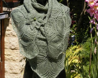 Hand knitted shawl.  Green shawl with brooch