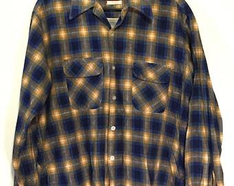 Vintage EXETER Long Tails Board Shirt 100% Sanforized Cotton sz Large 1960s vtg RARE
