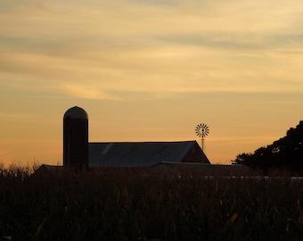 Barn and Windmill Sunrise