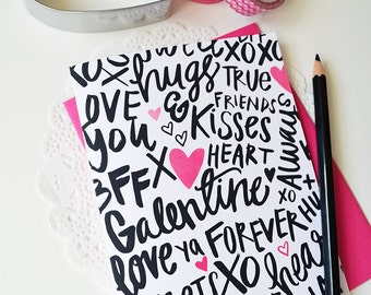 Galentine, Hand lettered, XOXO, Hugs and kisses, Sweetheart, BFF, Folded Note Cards, Galentine's Day, Valentine's Day, Stationery, Heart