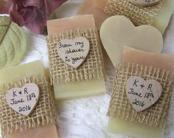 Mini soaps, From my shower to yours, Blush soaps, bridal shower favors, organic, handmade, personalized, rustic. set of 30