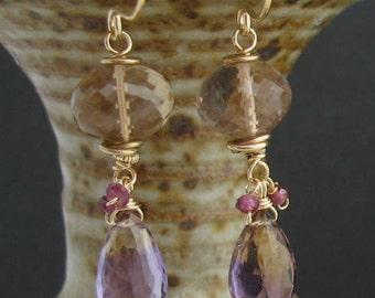 Wired Ametrine Garnet Earrings, Ametrine Garnet Jewelry, Gemstone Wire Wrapped Earrings, Purple Yellow Earrings, Purple Yellow Jewelry