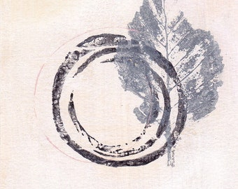 Enso III - September 2016, abstract painting on paper, 4 x 4, small art work