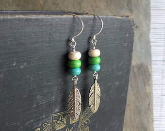 Color Block Turquoise Boho Dangle Earrings with Feather Charm Accents - Long Earrings - by Adrienne Adelle
