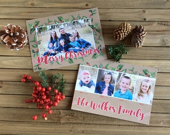 Digital Christmas Card - Customizable - Photo Christmas Card - Holly Berries