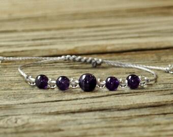 Amethyst Bracelet, Yoga Bracelet, Crown Chakra, 7th Chakra, Gemstone Therapy,Meditation Bracelet, Reiki, Wish Bracelet
