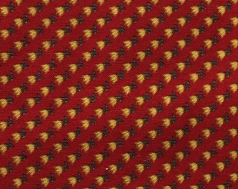 Red Gold Tulip Fabric - Concord Tulip Quilt Fabric - Vintage Style Calico Tulips - Red and Gold Cotton Fabric - Early American