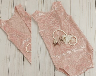 White Lace Newborn Romper photo prop with matching headband 6 month sitter pretty in pink