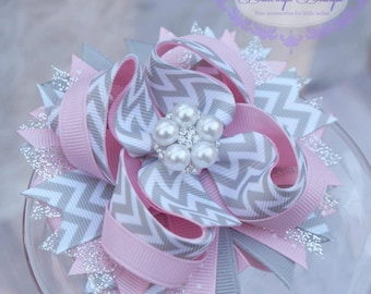 Chevron hair bow, girls hair bow,  pink and grey chevron layered hair bow,