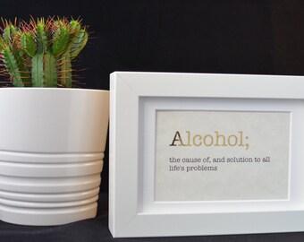 Urban Dictionary Wall Art / Alcohol Definition / Dictionary Art / Funny Definition / Word Art