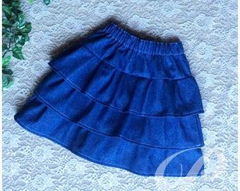 GIRLS DENIM SKIRT ruffled denim skirt