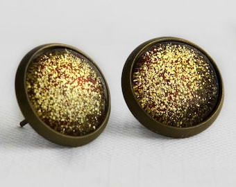 Ruby Red Sparkle Post Earrings in Antique Bronze - Gold Golden Glitter Red Glittery Stud Earrings