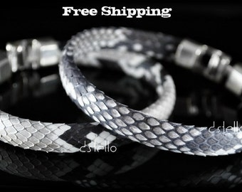 Men's bracelet, Real python snakeskin bracelet, Women's jewelry, Genuine skin, Authentic, Silver color hammered clasp, Unisex cool gift