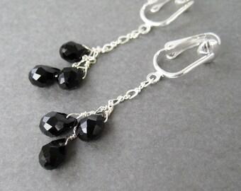 Black Teardrop Clip-on Earrings, Faceted Black Glass Drop Trio Clip Earrings, Silver Ear Clips, Silver Chain Dangle Clip ons, Lorie Trio