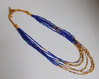 Blue and Gold Seedbead Multistrand Necklace