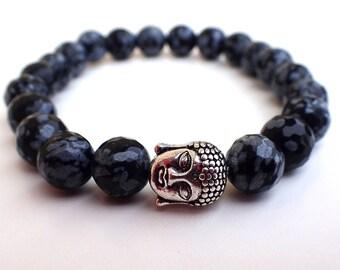 Obsidian bracelet , Yoga bracelet, Chakra bracelet, Buddha bracelet, Meditation bracelet, Boyfriend gift, Protection bracelet , Gift for her