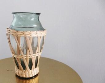 Wicker wrapped green glass boho vase