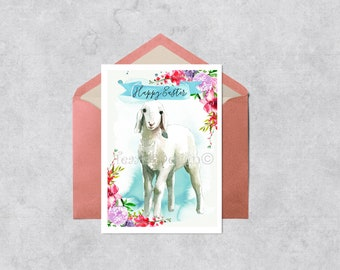 Easter Printable Card, Easter Card, Watercolor Easter Card, Happy Easter Card, Easter Instant Download, Digital Download, Easter Card