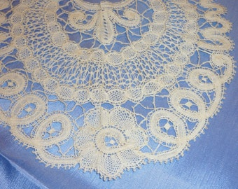 1 Antique Brussels Duchesse Point De Gaze Lace  Collar  Perfect, Child Size, Bebe Doll